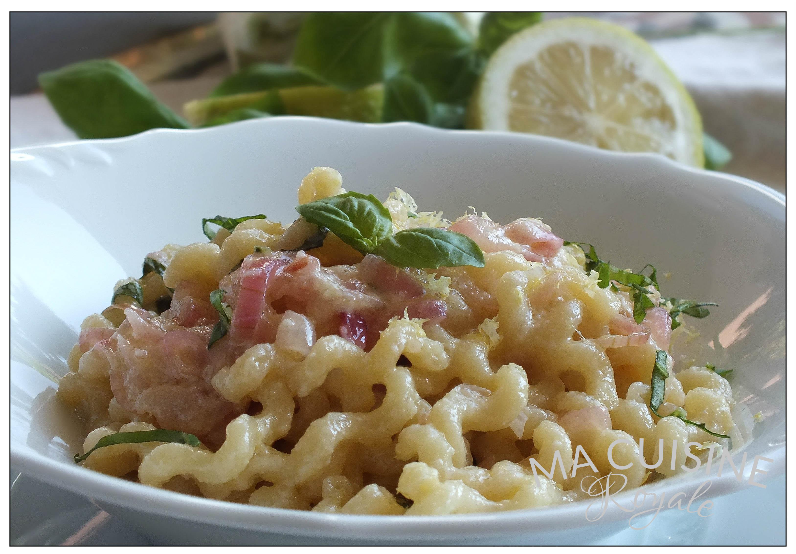 Fusilli au citron et basilic ma cuisine royale for Cuisine royale