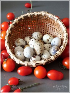 crostatine alla maionese pomodoro e uova di quaglia 1